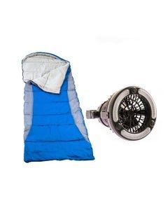 Adventure Kings Right Hooded Sleeping Bag + 2in1 LED Light & Fan