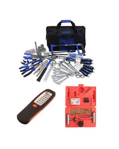 Adventure Kings Tool Kit - Ultimate Bush Mechanic + Illuminator 24 LED Work Light + Tyre Repair Kit