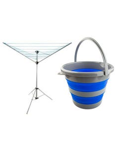 Adventure Kings Camping Clothesline + Collapsible 10L Bucket