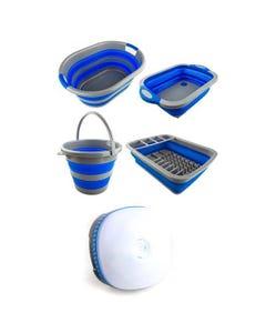 Adventure Kings Collapsible Sink + Collapsible 10L Bucket + Collapsible Laundry Basket + Collapsible Dish Rack + Mini Lantern
