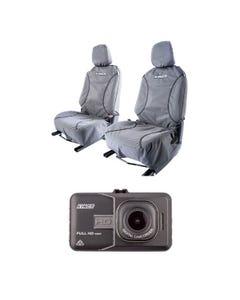 Kings Universal Premium Canvas Seat Covers (Pair) + High-Def Dash Camera