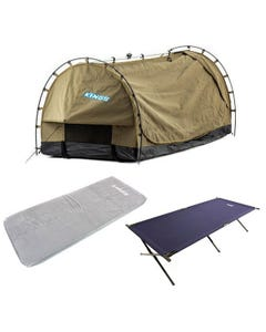 Kings Deluxe Escape Single Swag + Self-Inflating Foam Mattress - Single + Camping Stretcher Bed