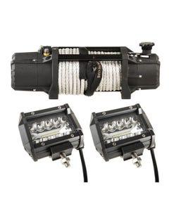 "Domin8r Xtreme 12,000lb Winch + 4"" LED Light Bar"