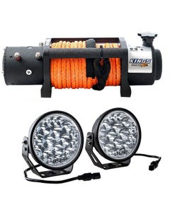 """Domin8r X 12,000lb Winch with rope + Domin8r Xtreme 7"""" LED Driving Lights (Pair)"""