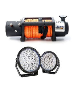 """Domin8r X 12,000lb Winch with rope + Lethal 9"""" Premium LED Driving Lights"""