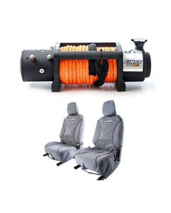 Domin8r X 12,000lb Winch with rope + Premium Canvas Seat Covers (Pair)