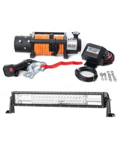 """Domin8r X 12,000lb Winch with rope + Adventure Kings Domin8r 22"""" LED Light Bar"""
