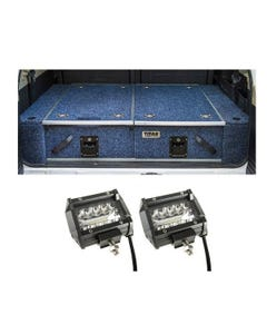 """Titan Rear Drawer with Wings suitable for Toyota Landcruiser 80 Series + 4"""" LED Light Bar"""
