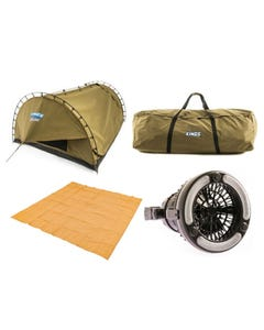 Kings Big Daddy Deluxe Double Swag + Swag Tent Canvas Bag + 2in1 LED Light & Fan + Mesh Flooring 3m x 3m