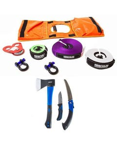 Hercules Essential Recovery Kit +  Three Piece Axe, Folding Saw and Knife Kit