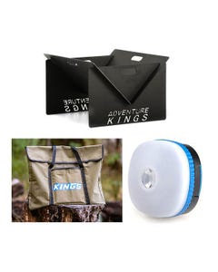 Adventure Kings Portable Steel Fire Pit + Fire Pit Canvas Bag + Mini Lantern