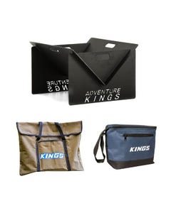 Adventure Kings Portable Steel Fire Pit + Fire Pit Canvas Bag + Kings 8L Cooler Bag