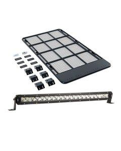 "Steel Flat Rack suitable for 100/105 Series LandCruiser + 20"" LETHAL MKIII Slim Line LED Light Bar"