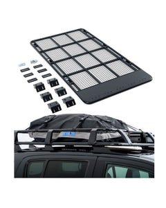 Steel Flat Rack suitable for 100/105 Series LandCruiser + Half-Length Premium Waterproof Rooftop Bag