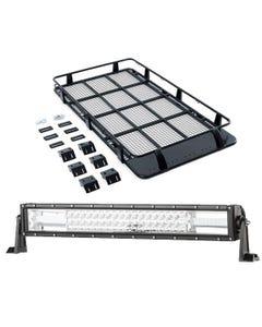 """Full Length Steel Roof Racks + Domin8r 22"""" LED Light Bar"""