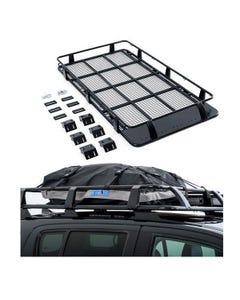 Full Length Steel Roof Racks + Half-Length Premium Waterproof Rooftop Bag