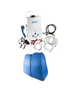 Kings Portable Gas Hot Water System + Adventure Kings Double Ensuite/Shower Tent
