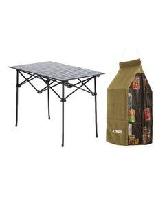 Adventure Kings Aluminium Roll-Up Camping Table + Hanging Pantry