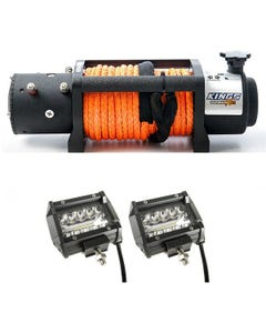 """Domin8r X 12,000lb Winch with rope + Adventure Kings 4"""" LED Light Bar"""