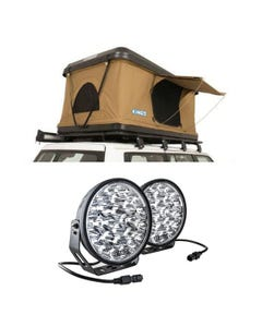 """Kings Kwiky MKII Hard Shell Rooftop Tent + Domin8r Xtreme 9"""" LED Driving Lights (Pair)"""