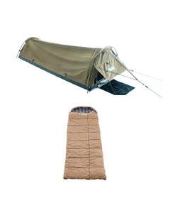 Adventure Kings Single Swag - Kwiky + Premium Sleeping bag -5°C to 5°C Degrees Celsius Right Zipper