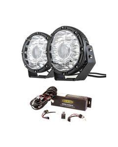 "Kings 8.5"" Laser MKII Driving Lights (pair) + Spotlight Wiring Harness"