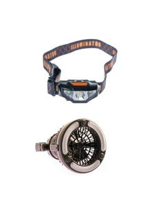 Adventure Kings 2in1 LED Light & Fan + Illuminator LED Head Torch