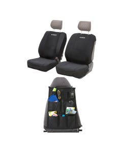 Adventure Kings Neoprene Front Seat Covers + Adventure Kings - Car Seat Organisers