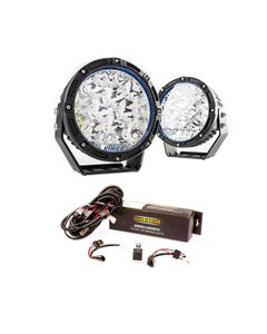 "Adventure Kings 7"" Lethal LED Driving Lights (Pair) + Kings Spotlight Wiring Harness"