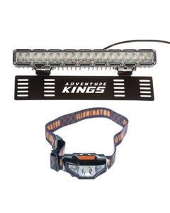 "15"" Numberplate LED Light Bar + Illuminator LED Head Torch"