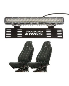 """Kings 15"""" Numberplate LED Light Bar + Heavy Duty Seat Covers (Pair)"""