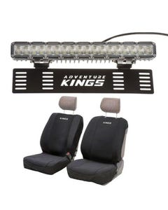 """Kings 15"""" Numberplate LED Light Bar + Neoprene Front Seat Covers"""