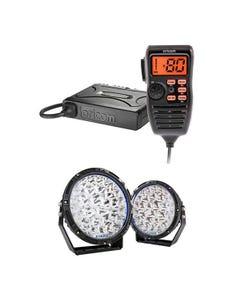 "Lethal 9"" Premium LED Driving Lights + Oricom UHF380PK In-Car 5W CB Radio"