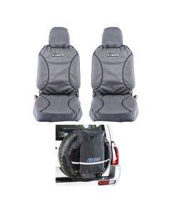 Kings Universal Premium Canvas Seat Covers (Pair) + Premium 48L Dirty Gear Bag