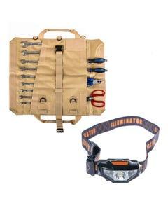 Adventure Kings Premium Tool Roll + Illuminator LED Head Torch