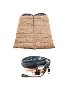 2x Adventure Kings Premium Sleeping bag -5°C to 5°C Degrees Celsius - Left and Right Zipper + Adventure Kings LED Strip Light