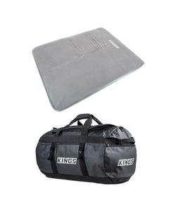 Self Inflating 100mm Foam Mattress - Queen + 80L Extra-Large PVC Duffle Bag