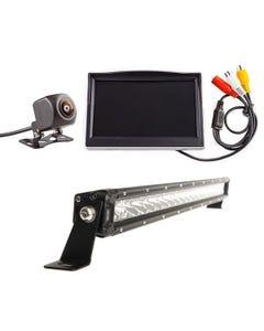 "Adventure Kings Reverse Camera Kit with 5"" Screen + 20"" LETHAL MKIII Slim Line LED Light Bar"
