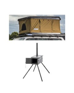 Kings Kwiky MKII Hard Shell Rooftop Tent + Premium Camp Oven Stove