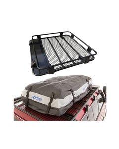 Steel Roof Rack 1/2 Length + Adventure Kings Premium Waterproof Roof Top Bag