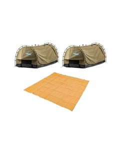2x Kings Deluxe Escape Single Swag + Mesh Flooring 3m x 3m