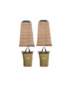 2x Adventure Kings Premium Sleeping bag -5°C to 5°C Degrees Celsius - Left and Right Zipper + 2x Doona/Pillow Canvas Bag