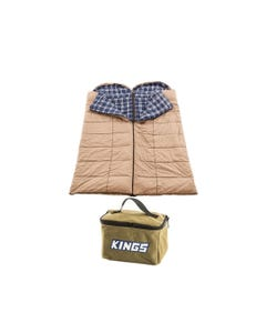 2x Adventure Kings Premium Sleeping bag -5°C to 5°C Degrees Celsius - Left and Right Zipper + Adventure Kings Toiletry Canvas Bag