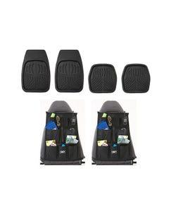 Adventure Kings Deep Dish Floor Mats Set of 4 + 2x Car Seat Organisers