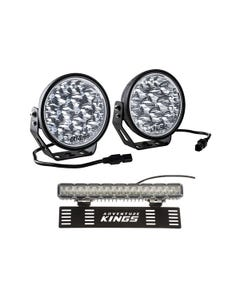 """Adventure Kings Domin8r Xtreme 7"""" LED Driving Lights (Pair) + 15"""" Numberplate LED Light Bar"""