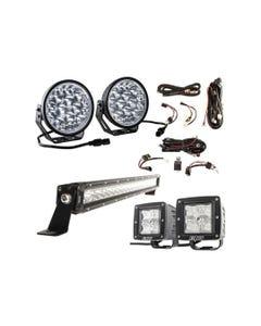 "Adventure Kings Domin8r Xtreme 7"" LED Driving Lights (Pair) + 20"" LETHAL MKIII Slim Line LED Light Bar + Plug N Play Harness + Light Bar Wiring Harness + 3"" LED Work Light - Pair"