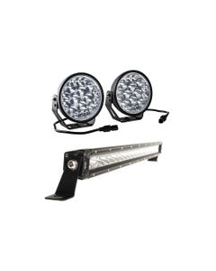 "Adventure Kings Domin8r Xtreme 7"" LED Driving Lights (Pair) + 20"" LETHAL MKIII Slim Line LED Light Bar"
