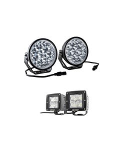 """Adventure Kings Domin8r Xtreme 7"""" LED Driving Lights (Pair) + Adventure Kings 3"""" LED Work Light - Pair"""