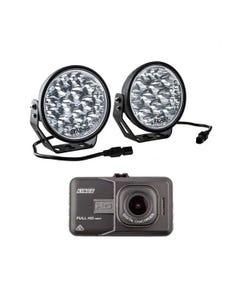 "Adventure Kings Domin8r Xtreme 7"" LED Driving Lights (Pair) + Adventure Kings Dash Camera"