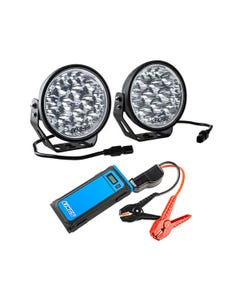 """Adventure Kings Domin8r Xtreme 7"""" LED Driving Lights (Pair) + Jump Starter"""